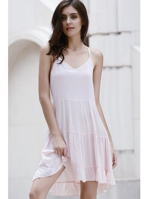 online Flounce Ruffles Solid Color Spaghetti Straps Dress - PINK M Mobile