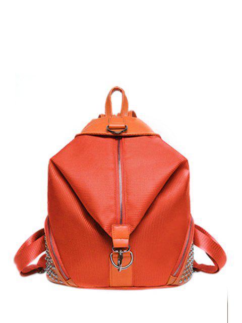 Solide Couleur Splicing Rivet Satchel - Tangerine  Mobile