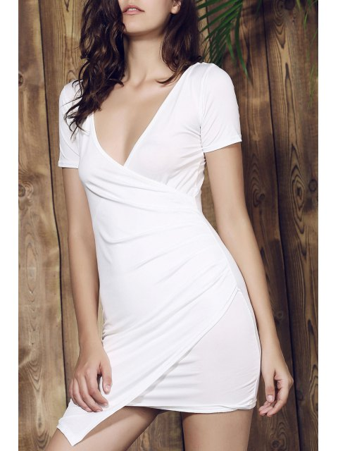 online Plunging Collar Asymmetrical Bodycon Dress - WHITE L Mobile