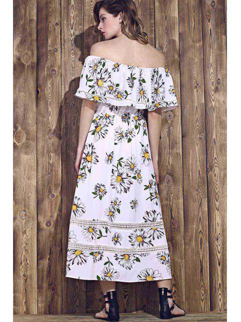 shops Flower Print Waisted Convertible Dress - WHITE S Mobile