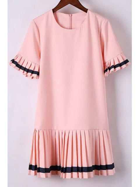 sale Pleat Spliced Round Collar Short Sleeve Dress - PINK M Mobile