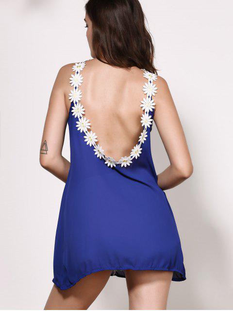 best Floral Jewel Neck Backless Sleeveless Dress - PURPLISH BLUE M Mobile