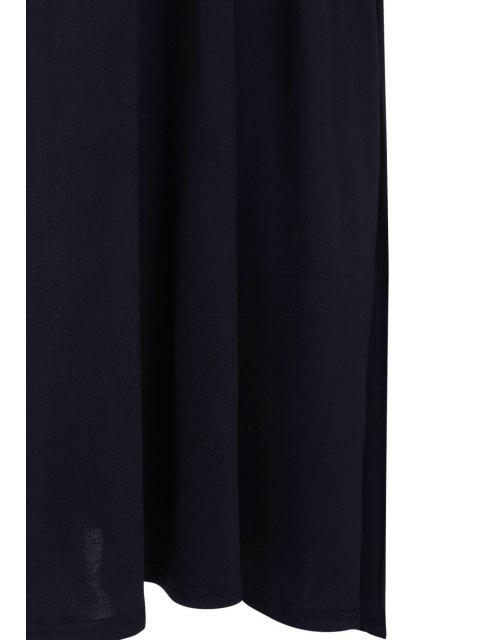 women Plunging Neck Black Backless Sleeveless Dress - BLACK M Mobile