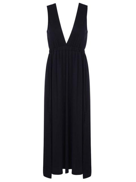 ladies Plunging Neck Black Backless Sleeveless Dress - BLACK L Mobile