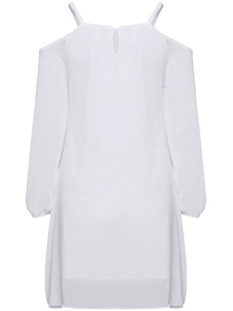 affordable Long Sleeve Irregular Hem White Dress - WHITE M Mobile