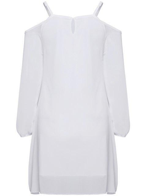 affordable Long Sleeve Irregular Hem White Dress - WHITE M Mobile