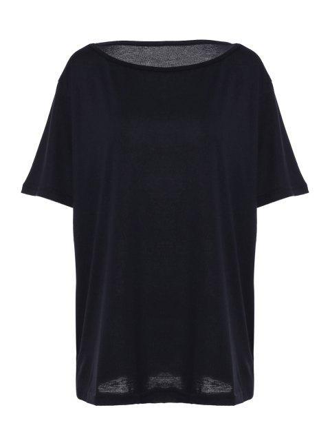 shop Solid Color Oblique Shoulder T-Shirt - BLACK XL Mobile