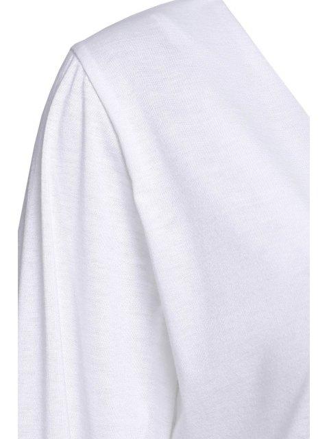 unique Long Sleeve Drawstring Design White Romper - WHITE M Mobile
