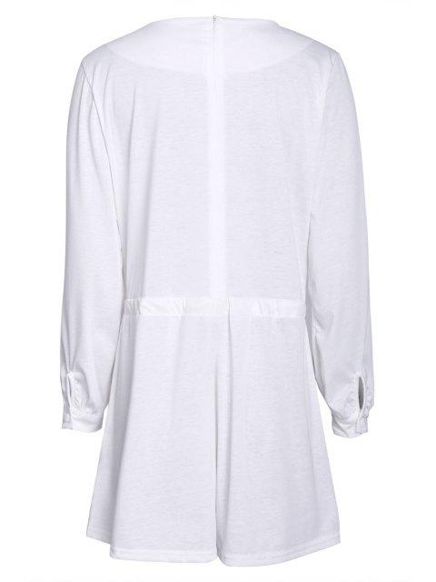 chic Long Sleeve Drawstring Design White Romper - WHITE S Mobile