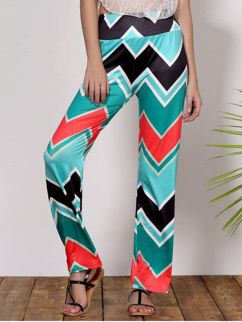 new Stylish Mid-Waisted Wave Print Loose-Fitting Women's Exumas Pants - GREEN M Mobile