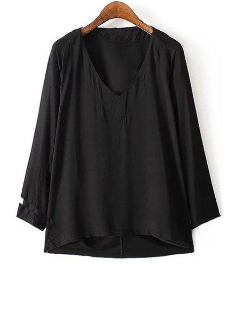 new Pure Color V-Neck Long Sleeve Loose T-Shirt - BLACK M Mobile