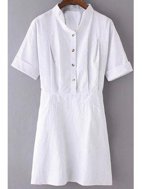 womens Striped Turn Down Collar Short Sleeves Dress - STRIPE M Mobile