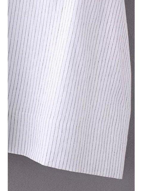 womens Striped Turn Down Collar Short Sleeves Dress - STRIPE M Mobile