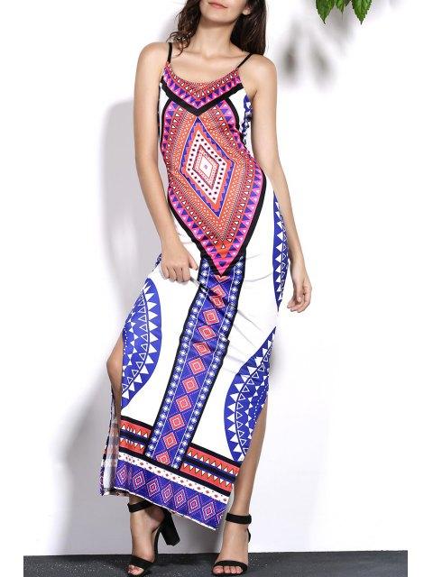 women Geometric Print Cami Backless Maxi Dress - COLORMIX L Mobile