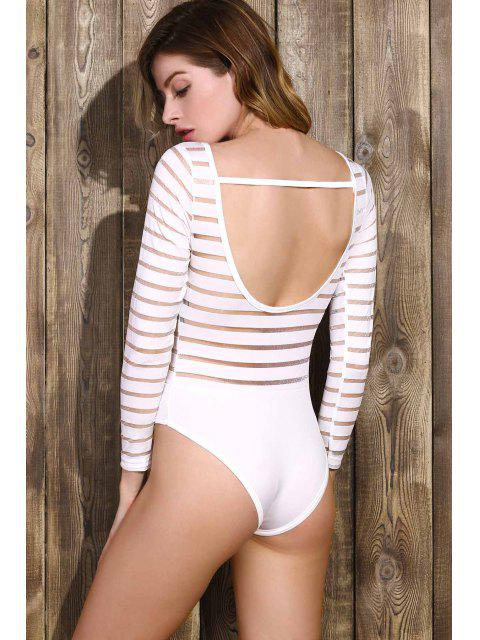Solide Couleur See-Through col rond manches longues Bodysuit - Blanc M Mobile