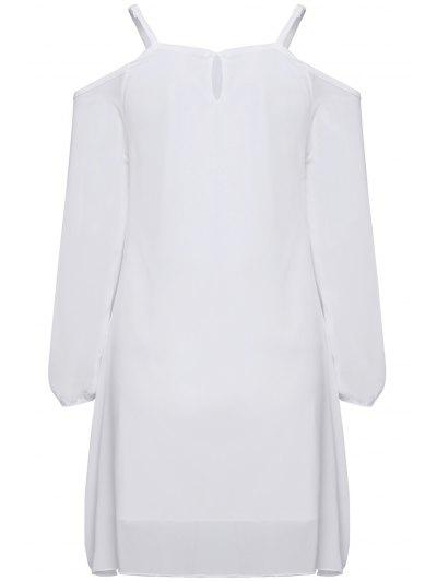 Long Sleeve Irregular Hem White Dress - White Xl