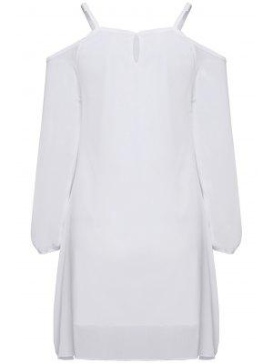 Long Sleeve Irregular Hem White Dress - White M