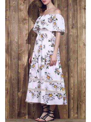 Flower Print Waisted Convertible Dress - Blanc L