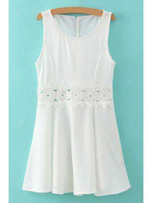 Lace Spliced Round Collar Sleeveless Mini Dress - White S