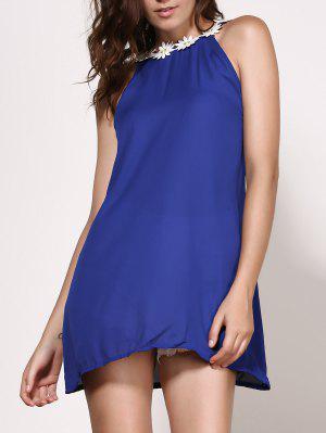 Vestido Floral Sin Mangas Con Cuello Redondo Con Espalda Abierta - Azul Purpúreo M