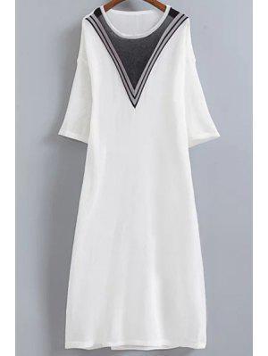 Vestido De Tejido Con Rayas En Forma De V - Blanco
