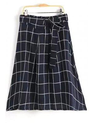 Ceñido Gridding Una Falda De Línea - Negro L