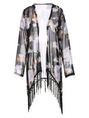 Collarless Tassel Splicing Floral Long Sleeve Kimono