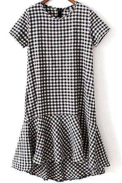 Checked High-Low Round Neck Short Sleeve Dress - BLACK L
