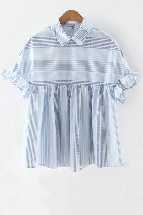 Striped Flat Collar Butterfly Sleeve Blouse - LIGHT BLUE M