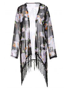 Collarless Tassel Splicing Floral Long Sleeve Kimono - Black L