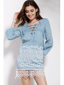 Lace Spliced V Neck 3/4 Sleeve Dress - Blue M