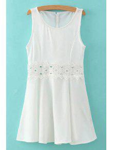 Buy Lace Spliced Round Collar Sleeveless Mini Dress - WHITE S