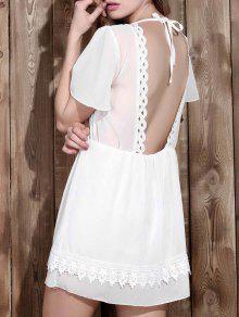 Vestido Empalmado De Encaje Con Cuello En V Sin Respaldo De Las Mujeres Elegantes - Blanco Xl