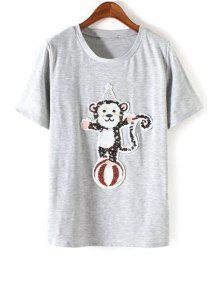 Monkey Sequined Round Neck Short Sleeve T-Shirt - Gray S