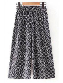 La Impresión De Argyle Elástico De La Cintura De Los Pantalones De Pierna Ancha - Negro L
