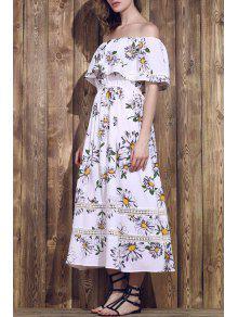Flower Print Waisted Convertible Dress - White L