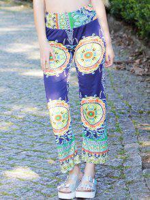 Pantalones Modas De Poliéster Tipo Anchas Cintura Media De Holgada Con Flor De Impresión De Las Mujeres - S