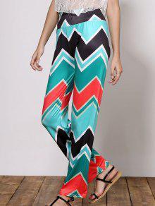 Stylish Mid-Waisted Wave Print Loose-Fitting Women's Exumas Pants - Green S