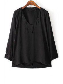 Pure Color Cuello En V Manga Larga Camiseta Floja - Negro M