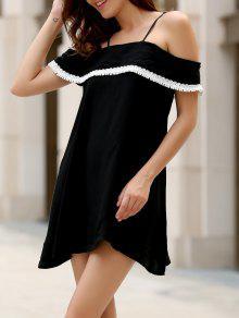 Mini Vestido De Volantes Con Hombros Al Aire Con Puntilla Ahuecada - Negro S