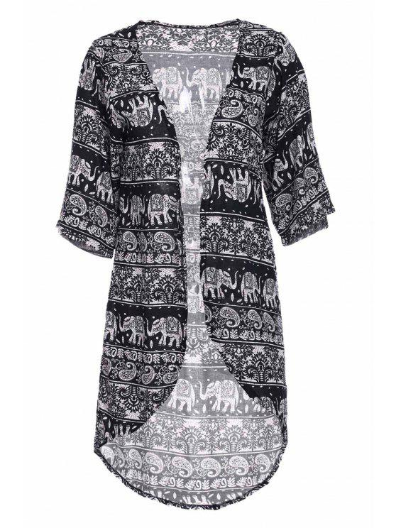 lady Colllarless Ethnic Pattern Print Blouse - BLUE AND WHITE M