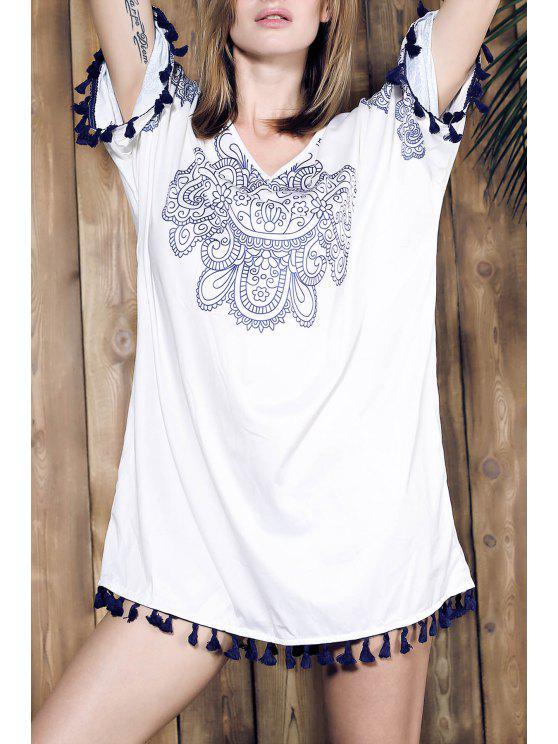 فستان مستقيم هامشي غارق الرقبة طباعة - أبيض واحد الحجم (حجم صالح XS إلى M)