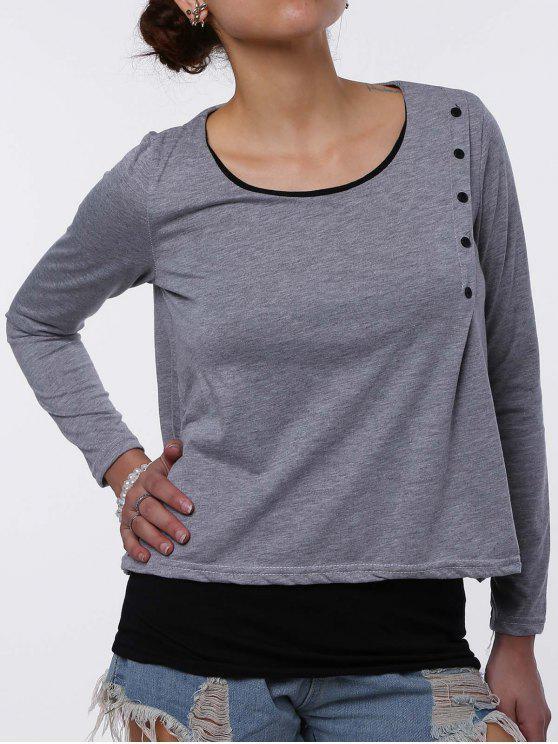 Stylish Scoop Neck Faux Twinset Design Long Sleeve T-Shirt For Women - Grigio Chiaro M
