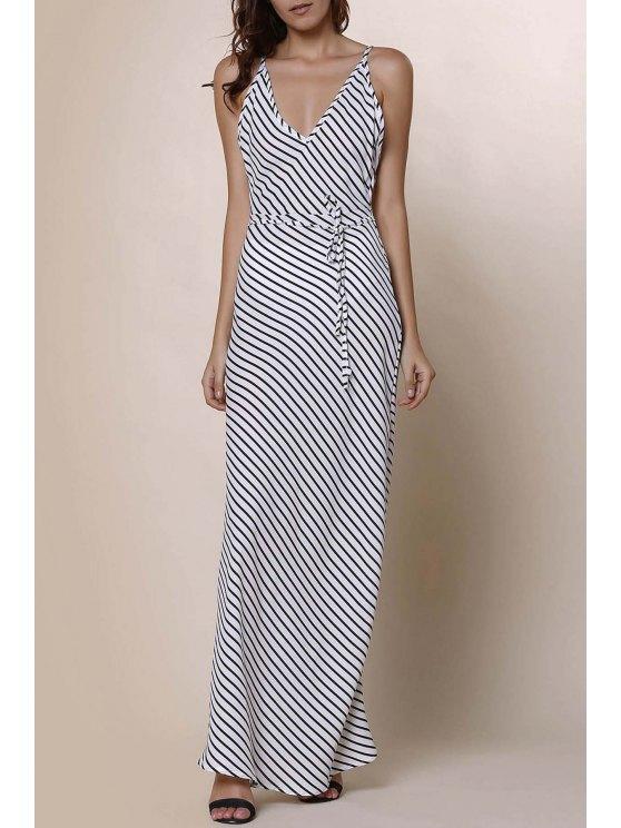 Striped Spaghetti Strap Backless Maxi Dress - Raya S