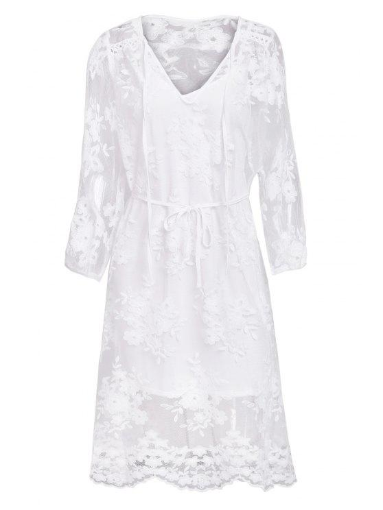 buy Lace See-Through Long Sleeve Dress - WHITE M