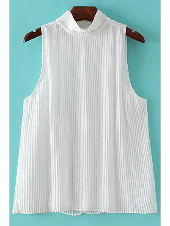 Plissado Stand Collar sem mangas Chiffon T-Shirt - Branco L