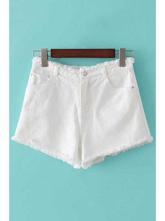 outfit Denim Solid Color Pockets Shorts - WHITE L