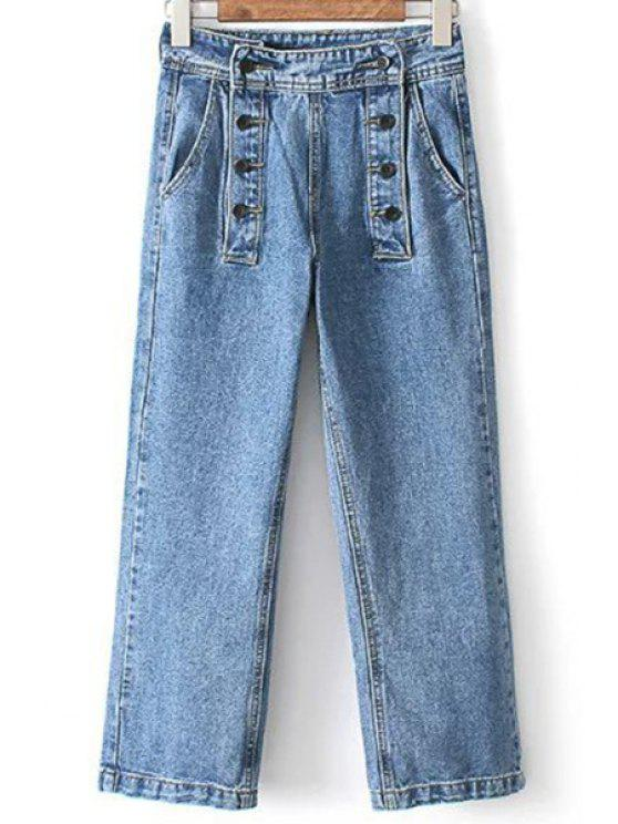 sale Loose High Waisted Double-Breasted Jeans - LIGHT BLUE XL