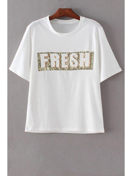 Carta de impresión cuello redondo manga corta de las lentejuelas de la camiseta - Blanco L