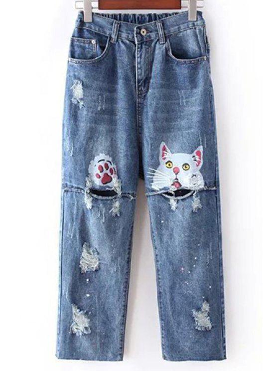shop Cat Print Straight Leg Hole Jeans - BLUE XL
